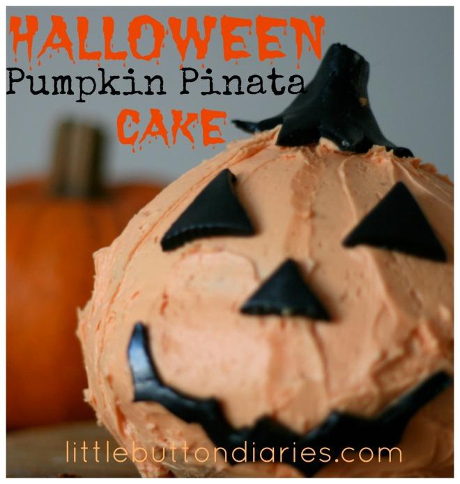 halloween pumpkin piñata cake