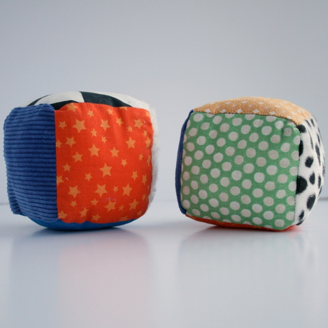 fabric cubes using different fabrics for each face