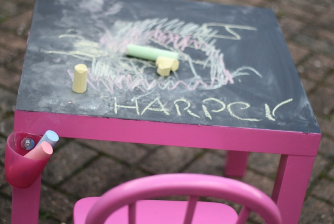 chalkboard table upcycle