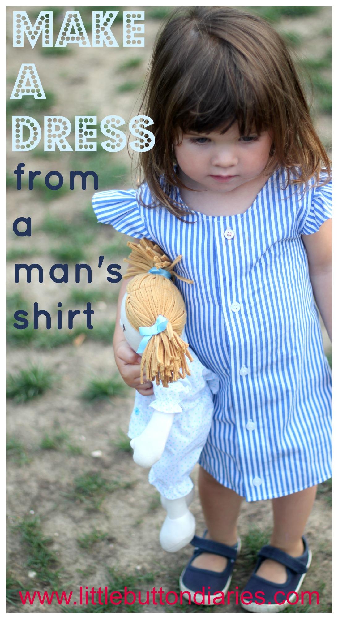 Make a little girl s dress from a man s shirt little for Make a dress shirt