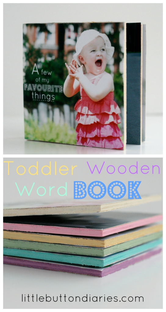 Toddler wooden word book